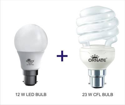 Ornate-Combo-Of-12W-LED-Bulb-And-23W-CFL-Bulb-(White)