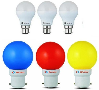 Bajaj-7W-White-And-0.5W-(Blue,-Red,-Yellow)-LED-Bulb-(Pack-of-6)