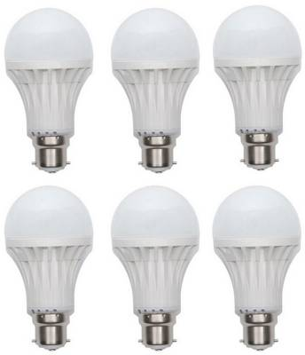 9W-Plastic-Body-White-LED-Bulb-(Pack-Of-6)
