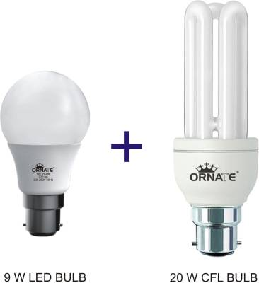 Ornate-Combo-Of-9-W-LED-Bulb-And-20-W-CFL-Bulb-(White)