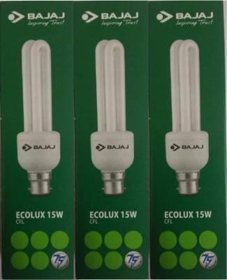 Bajaj-15W-2U-Ecolux-CFL-Bulb-(White,-Pack-of-3)