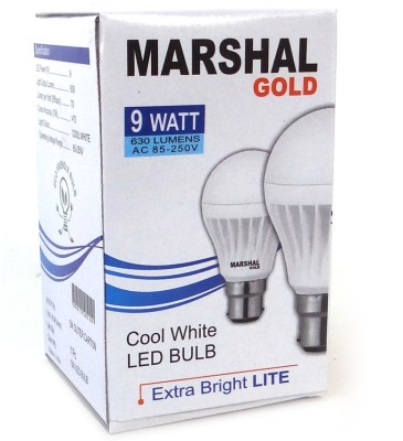 Gold-9W-B22-LED-Bulb-(White,-Set-of-9)