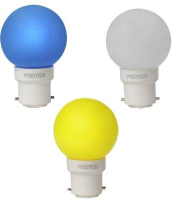Pyrotech-0.5W-LED-Bulb-(Pack-of-3)-(Multicolour:-Blue,-Yellow,-White)