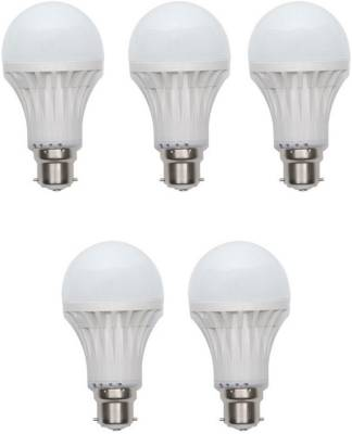 12W-B22-White-LED-Bulb-(Plastic,-Pack-of-5)