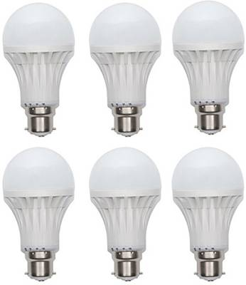 Gold-3-W-Plastic-Body-Warm-White-LED-Bulb-(Pack-Of-6)