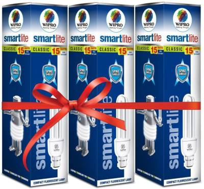 Wipro Smartlite 15W CFL Bulbs (White, Pack of 3) Image
