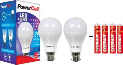 PowerCell 7 W LED Bulb Pack of 2 with Free 4 Batteries