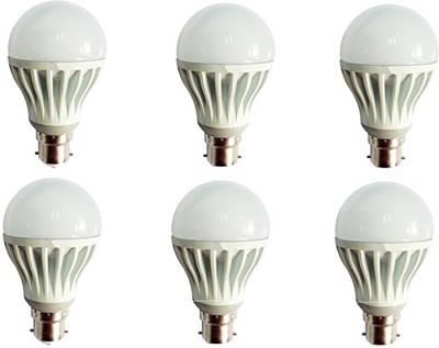 Gold-5W-Plastic-Body-Warm-White-LED-Bulb-(Pack-Of-6)