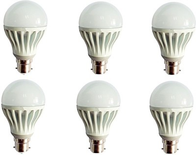 Gold-5W-Plastic-Body-Warm-White-LED-Bulb-(Pack-Of-6)