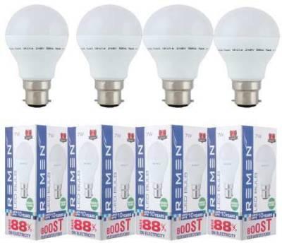 REMEN-7W-B22-Eco-Friendly-LED-Bulb-(White,-Pack-of-4)
