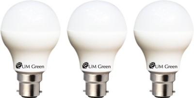UM-Green-7W-B22-LED-Bulb-(White,-Set-of-3)