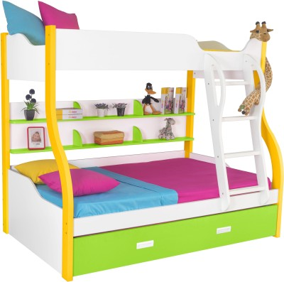 Alex Daisy Cloumbia Engineered Wood Bunk Bed(Finish Color - White, Yellow & Green) at flipkart