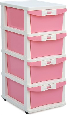 Nilkamal Plastic Free Standing Chest of Drawers(Finish Color - Pink)