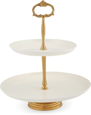 Elan Two Tier Stand Steel Cake Server(White, Pack of 1) at flipkart