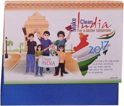 Indigo Creatives Swach Bharat Clean India Desktop 2017 Office Calendar 2017 Table Calendar(Multicolor, Swach Bharat)  available at flipkart for Rs.199