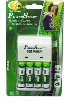 Power Smart 2100 MaH x 4 Cells AA AAA NiCD NiMH 5 Hour Fast Automatic Cut Off With 2 LED Camera Battery Charger Set Camera Battery Charger White