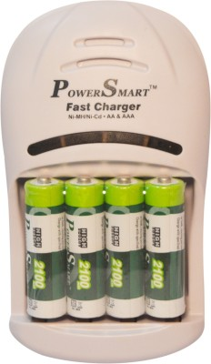 Power Smart 2100 MaH x 4 Cells 5 Hour 2 LED Automatic Cut Off Function Fast AA Camera Battery PS 1007 AAA NiCD NiMH Charger Set  Camera Battery Charger(White) 1