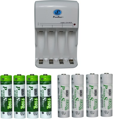 Power Smart Fast Charging Unit PS345 Combo With 2 Set 2300mahx4AA And 1100mahx4 AAA Cells Camera Battery Charger(White) 1