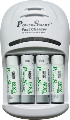 Power Smart 2300 MaH X 4 Cells 1 Hour 4 LED Fast With Automatic Cut Off Function PS 1007 AA AAA NiCD NiMH  Camera Battery Charger(White) 1