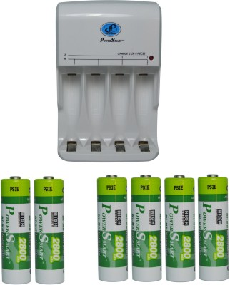 Power Smart Fast Charging Unit PS345 Combo With 2 Set 2800mahx4 And 2800mahx2 AA Cells  Camera Battery Charger(White)
