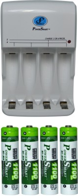 Power Smart Fast Charging Unit PS345 Combo With 1100mahx4 AAA Cells Camera Battery Charger White