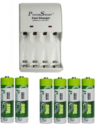 Power Smart Fast Charging Unit PS1002 Combo With 2 Set 2100maHx4 And 2100maHx2 AA Cells Camera Battery Charger White