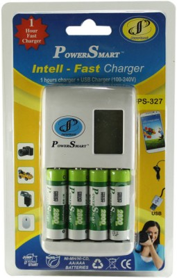 Power Smart 1 Hour fast battery charger having USB output with 4 AA batteries 2800mAh Capacity  Camera Battery Charger