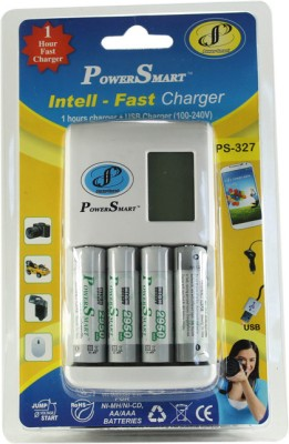 Power Smart 1 Hour fast Battery Charger having USB Port With 4 AA Batteries  2950mAh  Camera Battery Charger