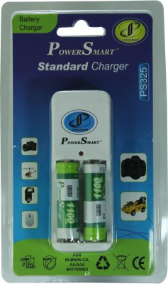 Power Smart Standard Charger with 4 AA Batteries  1100mAh Capacity  Camera Battery Charger Power Smart Battery chargers
