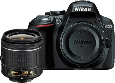 Nikon D5300 DSLR Camera Body with Single Lens: AF P DX NIKKOR 18 55 mm f/3.5 5.6G VR Kit  16  GB SD Card + Camera Bag  Black