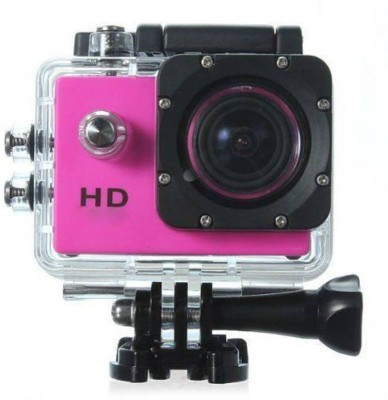 Feleez Mini Waterproof DV 1080P30 & 720p Video Body Only Sports & Action Camera(Pink, Black)