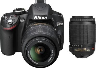 Nikon D3200 with (AF-S 18-55 mm VRII + AF-S 55-200 mm VR Kit) DSLR Camera(Black)