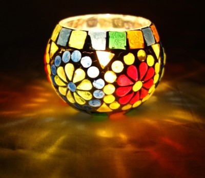 Lal Haveli Decorative Tea light Glass Candle Holder(Multicolor, Pack of 1) at flipkart