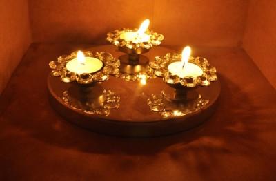 Lal Haveli Decorative Tealight Votive Crystal Candle Holder(Silver, Pack of 1) at flipkart