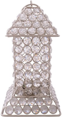 eCraftIndia Glittering Long House Shape Crystal 1 - Cup Tealight Holder(White, Silver, Pack of 1) at flipkart
