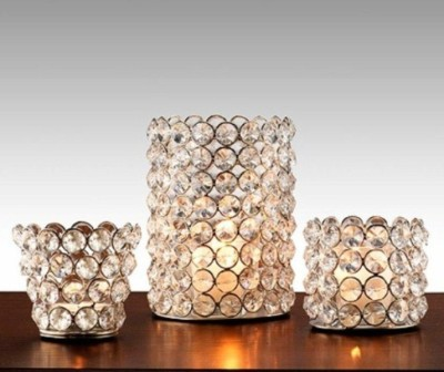 Inspiration World Hurricane Set / 3 Iron 3 - Cup Tealight Holder(Silver, Pack of 3) at flipkart