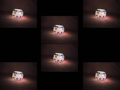 Gojeeva Glass 6 - Cup Tealight Holder(Multicolor, Pack of 6) at flipkart