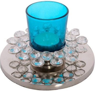eCraftIndia Fancy Flower Shape Crystal 1 - Cup Tealight Holder(White, Blue, Silver, Pack of 1) at flipkart