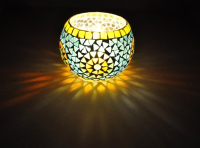 Lal Haveli Decorative Planter, Pan Stand Morocan Light Glass Tealight Holder(Multicolor, Pack of 1) at flipkart