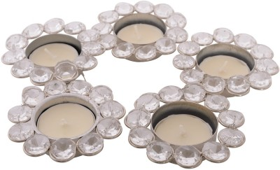 eCraftIndia Set of 5 Crystal 5 - Cup Tealight Holder Set(White, Silver, Pack of 1) at flipkart
