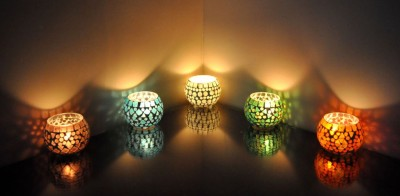 Lal Haveli Glass Tea light Stand Night Lamp Glass Candle Holder Set(Multicolor, Pack of 5) at flipkart