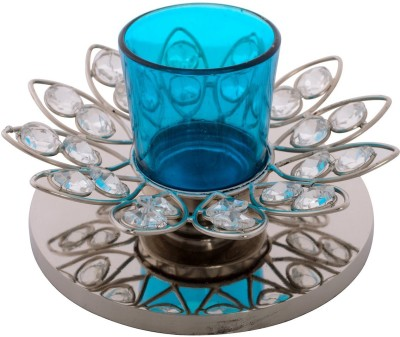 eCraftIndia Adoring Flower Shape Crystal 1 - Cup Tealight Holder(White, Blue, Silver, Pack of 1) at flipkart