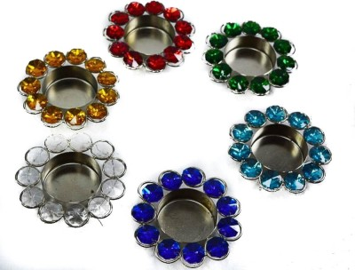Reverence Crystal 6   Cup Tealight Holder Set Multicolor, Pack of 6