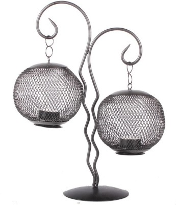 Apkamart Handcrafted Decorative Iron T Light Stand - 15 Inch - For Home & Table Decoration, Festivals and Gifts Iron 2 - Cup Tealight Holder(Black, Pack of 1) at flipkart