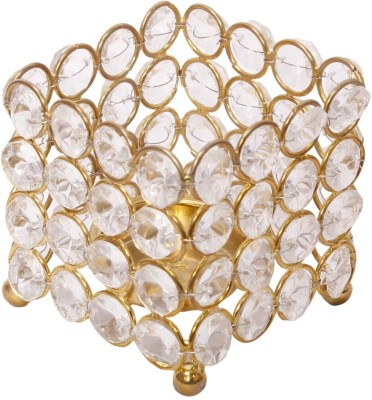 Being Nawab Square Mesmerizing Crystal Tealight Holder(Gold, Pack of 1) at flipkart