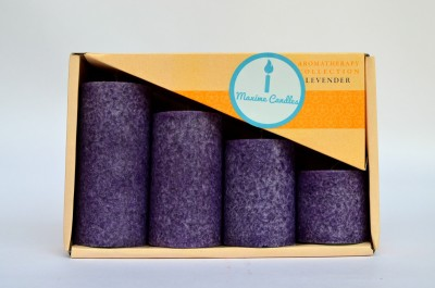 Maxime Lavender Scented Marble Pillar Candle(Purple, Pack of 4)