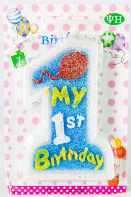 The Souq My First Birthday Number Candle(Blue, Pack of 1)
