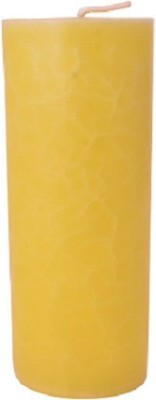 Starlight Candles CL-003 STARLIGHT CRYSTAL LEMON YELLOW PILLAR CANDLE 20 CMS LONG Candle(Yellow, Pack of 01)