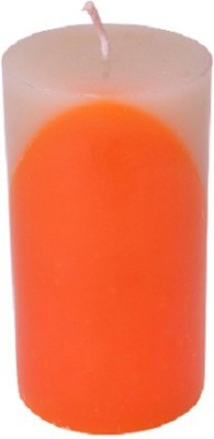 Starlight Candles CL-004 STARLIGHT DUAL WHITE ORANGE PILLAR CANDLE 15 CMS LONG Candle(White, Pack of 01)