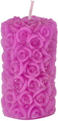 Starlight Candles Flower Pillar Cl 01 Candle(Purple, Pack of 1)
